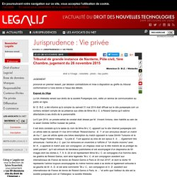 Tribunal de grande instance de Nanterre, Pôle civil, 1ère Chambre, jugement du 26 novembre 2015