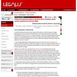 Tribunal de grande instance de Paris 3ème chambre, 4ème section Jugement du 25 juin 2009