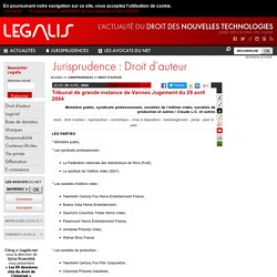 Tribunal de grande instance de Vannes Jugement du 29 avril 2004