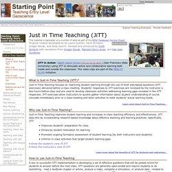 Just in Time Teaching (JiTT)