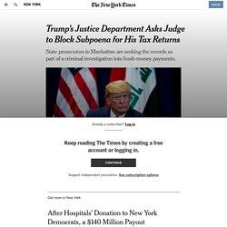 Trump's Justice Department Asks Judge to Block Subpoena for His Tax Returns