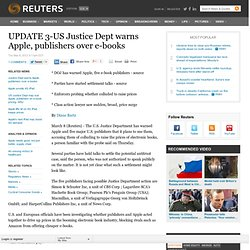 UPDATE 1-US Justice Dept may sue Apple on e-book pricing