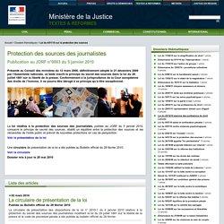 Loi du 4/01/10 sur la protection des sources