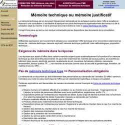 Mémoire technique, mémoire justificatif, note méthodologique (définition)