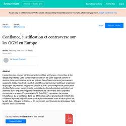 INRA - 2006 - Confiance, justification et controverse sur les OGM en Europe