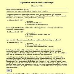 Is Justified True Belief Knowledge?