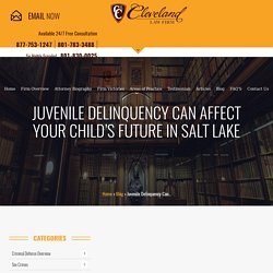 Juvenile Delinquency Can Affect Your Child Future in Salt Lake City - Utah Criminal Lawyer