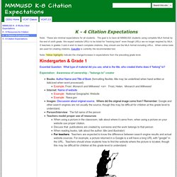 K - 4 Citation Expectations - MMMUSD K-8 Citation Expectations