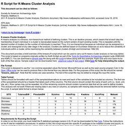 K-means analysis R-Script