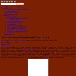 Les seize axiomes kabbalistiques d'Henry More « Cabale Chrétienne « Kabbale