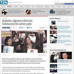 Kadınlar, öğrenci evleri için Galatasaray'da eylem yaptı