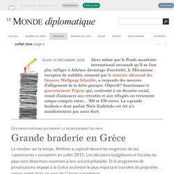 Grande braderie en Grèce, par Niels Kadritzke (Le Monde diplomatique, juillet 2016)