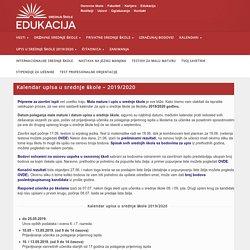 Kalendar upisa u srednje škole 2017/2018