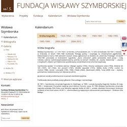 Kalendarium - Wisława Szymborska - Fundacja Wisławy Szymborskiej