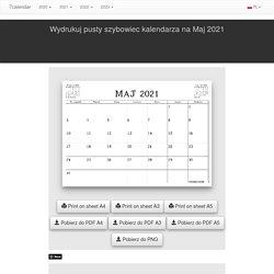 Wydrukuj kalendarz, szybowiec, planowanie wpisów w Maj 2021 - A4, A3 i A5 w formacie PDF i PNG - 7calendar