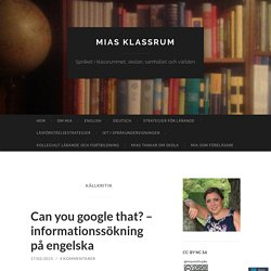 Can you google that? - Källkritik