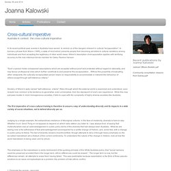 Joanna Kalowski - Cross-cultural imperative