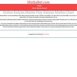 Online Play Kalyan Satta Matka
