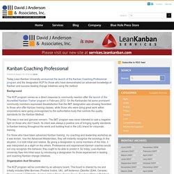 KCP - Kanban Coaching Professional (site J.Anderson)
