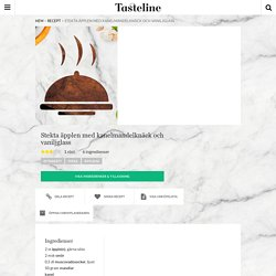 Stekta äpplen med kanelmandelknäck och vaniljglass - Recept - Tasteline.com
