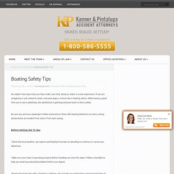 Kanner & Pintaluga - Boating Safety Tips