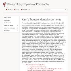 Kant's Transcendental Arguments (Stanford Encyclopedia of Philosophy)
