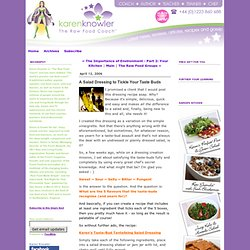 Karen Knowler * The Raw Food Coach: A Salad Dressing to Tickle Your Taste Buds