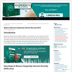 Steps to Remove Kaspersky Internet Security 2015