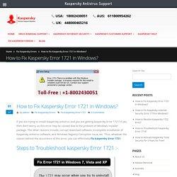 How to Fix Kaspersky Error 1721 in Windows? +1-8002430051
