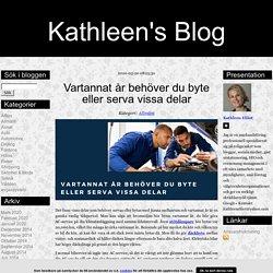 Kathleen's Blog - Vartannat år behöver du byte eller serva vissa delar