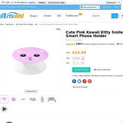 Cute Pink Kawaii Kitty Smiley Air Smart Phone Holder | ID: D1351022