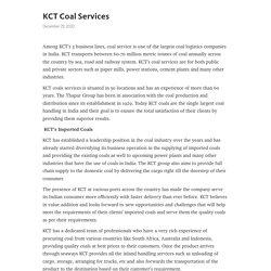 KCT Coal Services