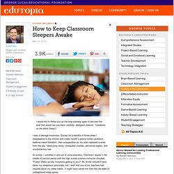 How to Keep Classroom Sleepers Awake