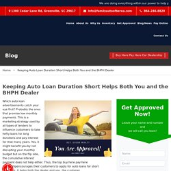 Keeping Auto Loan Duration Short Helps Both You and the BHPH Dealer