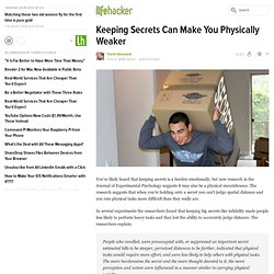 Keeping Secrets Can Make You Physically Weaker