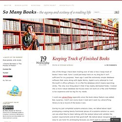 Keeping Track of Finished Books
