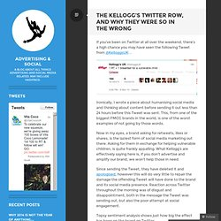 The Kellogg's Twitter row, and why they were so in the wrong