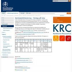 Kemikalieförteckning - förslag på lista - KRC