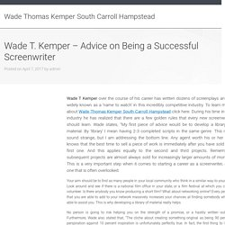 Wade T. Kemper - Advice on Being a Successful Screenwriter