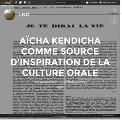 Aïcha Kendicha comme source d'inspiration de la culture orale - LNO