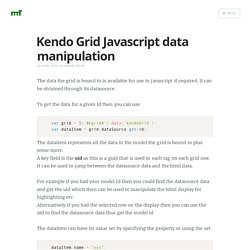 Kendo Grid Javascript data manipulation