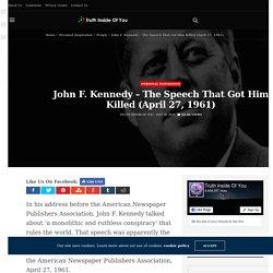 John F. Kennedy - The Speech That Got Him Killed (April 27, 1961)