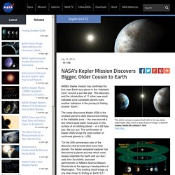 NASA's Kepler Mission Discovers Bigger, Older Cousin to Earth