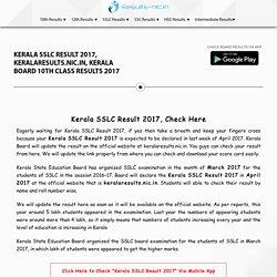 Kerala SSLC Result 2017, Kerala Board 10th Results 2017