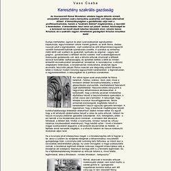 Vass Csaba: Keresztény szakrális gazdaság