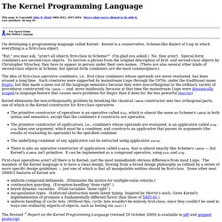 The Kernel Programming Language