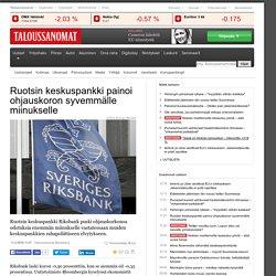 Ruotsin keskuspankki painoi ohjauskoron syvemmälle miinukselle