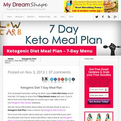 Ketogenic Diet Meal Plan - 7-Day Menu - My Dream Shape!