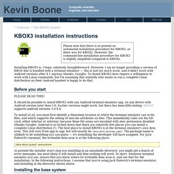KBox: Installation Instructions (Kevin Boone's Web site)