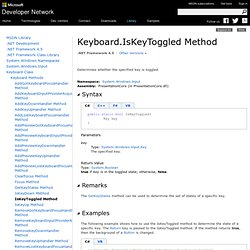 Keyboard.IsKeyToggled Method (System.Windows.Input)